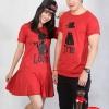 เสื้อคู่ เสื้อคู่รัก ชุดคู่รัก เสื้อคู่รักเกาหลี เสื้อคู่แฟชั่น ลายTRUE&LOVE ทรงตรง ADX004