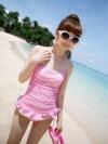 พร้อมส่ง / ชุดว่ายน้ำ นำเข้าสไตล์เกาหลี มีสีชมพู Size : M