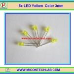 5x แอลอีดี สีเหลือง ขนาด 3 มม. จำนวน 5ตัวต่อชุด (LED Yellow Color 3mm)