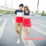 เดรสคู่รัก ชุดคู่รักเกาหลี COLORFUL (สีกรมท่า-ขาว-แดง) ผู้ชายเสื้อยืด ผู้หญิงเดรสแขนกุด ลายขวางสามสี ผ้านิ่มใส่สบายมากค่ะ