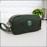 กระเป๋าคล้องมือ Lingky ผ้าทอ สีเขียวขี้ม้าล้วน