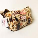 กระเป๋าสะพา Chalita wu คาดหนัง สีครีม ลายวินเทจ
