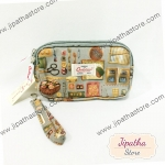 กระเป๋าคล้องมือ Chalita wu สีเทา ลายวินเทจ