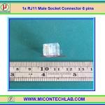 1x RJ11 Male Socket Connector 6 pins