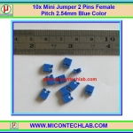 10x Mini Jumper 2 Pins Female Pitch 2.54mm Blue Color