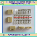 5x HOUSING CONNECTOR 6 PINS + 30x CRIMP TERMINAL 2.54mm