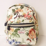 กระเป๋าเป้ Chalita wu สีครีม ลายดอกไม้