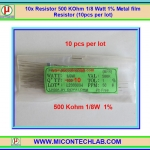 10x Resistor 500 Kohm 1/8 Watt 1% Metal film Resistor (10pcs per lot)