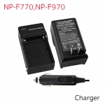 Battery Charger with Car Charger For NP-F770, F970, QM71, QM91