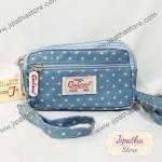 กระเป๋าคล้องมือ+ สะพาย 3 ช่องใบเล็ก สีฟ้า ลายจุด