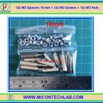 12x M3 Spacers 18 mm + 12x M3 Screws + 12x M3 Nuts (เสารองพีซีบีแบบปลายผู้เมีย 18 มม)