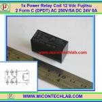 1x Power Relay Coil 12 Vdc Fujitsu 2 Form C (DPDT) AC 250V/5A DC 24V 5A