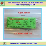 10x Resistor 4.7 Kohm 1/4 Watt 1% Metal film Resistor (10pcs per lot)