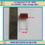 1x Capacitor 0.1uF 630V Metalized Polyester Film Capacitor 104 / 630V