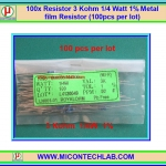 100x Resistor 3 Kohm 1/4 Watt 1% Metal film Resistor (100pcs per lot)