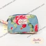 กระเป๋าคล้องมือ Chalita wu สีฟ้า ลายดอกไม้คราม