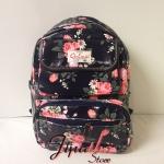 กระเป๋าเป้ Chalita wu สีดำ ลายดอกไม้