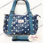 กระเป๋าถือ Chalita wu + สายาะพาย สีฟ้า ลายจุด