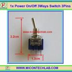 1x Power On/Off SPDT Switch 3 Ways 3 Pins