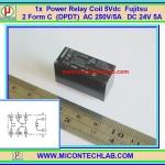 1x เพาเวอร์รีเลย์ คอยล์ 5Vdc 250V/5A Fujitsu 2 Form C