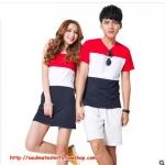 เดรสคู่รัก ชุดคู่รักเกาหลี COLORFUL (สีแดง-ขาว-ดำ) ผู้ชายเสื้อยืด ผู้หญิงเดรสแขนกุด ลายขวางสามสี ผ้านิ่มใส่สบายมากค่ะ