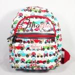 กระเป๋าเป้ Chalita wu สีขาว ลายรถยนต์คุณปู่