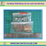12x Metal PCB Pillars 25 mm with 24x M3 Nuts (เสารองแผ่นพีซีบีโลหะแบบเหลี่ยมพร้อมน็อตยึด)