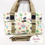 กระเป๋า Chalita wu + สายสะพาย 3 ซิป สีเหลือง ลายกระเป๋า