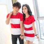 เสื้อคู่ เสื้อคู่รัก ชุดพรีเวดดิ้ง ชุดคู่รัก เสื้อคู่รักเกาหลี เสื้อผ้าแฟชั่ ลายขวาง สีขาว-แดง