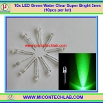 10x LED Green Water Clear Super Bright 3mm (10pcs per lot)