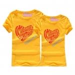 เสื้อคู่รัก ชุดคู่รัก เสื้อคู่ เสื้อยืดคู่รักผ้าฝ้าย สีเหลืองลาย IMPOSSIBLE IS NOTHING