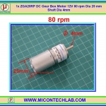 1x ZGA25RP DC Gear Box Motor 12V 80 rpm Dia 25 mm Shaft Dia 4mm