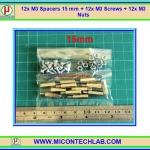 12x M3 Spacers 15 mm + 12x M3 Screws + 12x M3 Nuts (เสารองพีซีบีแบบปลายผู้เมีย 15 มม)