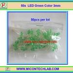50x LED Green Color 3mm (แอลอีดีสีเขียว 3มม 50 ตัวต่อชุด)