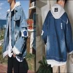 PRE-ORDER เสื้อแจ็คเก็ตแฟชั่นแบบใหม่ แจ็คเก็ตยีนส์แฟชั่นฮาจูกุ(แบรนด์ญี่ปุ่น) แขนยาวมีฮู้ด ออกแบบเรียบง่ายแนวอินดี้