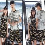 PRE-ORDER ชุดคู่รักเกาหลีใหม่ ชุดเซตแฟชั่นฤดูร้อนออกแบบทหารลายพราง ญ.เสื้อ+เอี๊ยม/เสื้อ+กางเกงขาสั้น