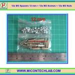 12x M3 Spacers 12 mm + 12x M3 Screws + 12x M3 Nuts (เสารองพีซีบีแบบปลายผู้เมีย 12 มม)