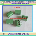 5x SCREW TERMINAL BLOCK 3 PINS Pitch 5.0mm 300V/10A GREEN COLOR