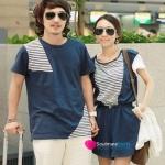 ชุดคู่รัก เสื้อคู่รักเกาหลี เสื้อผ้าแฟชั่น ชุดคู่รักผู้ชายเสื้อสีน้ำเงิน + หญิง เอี๊ยมจั๊มสูทแขนสั้น สีน้ำเงินผ้านุ่มใส่สบาย ใช้ลูกเล่นเย็บผ้าคนละลายตัดกันในตัวเดียว