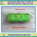10x Resistor 500 K Ohm 1/4 Watt 1% Metal film Resistor (10pcs per lot)