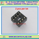 2x IC Socket DIP 8 PINS 7.62mm PITCH 2.54mm NARROW TYPE