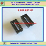 2x IC Socket DIP 16 PINS 7.62mm PITCH 2.54mm NARROW TYPE