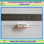 1x Cement Resistor 0.1 Ohm 5 Watt 5% Royal ohm