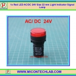 1x Red LED AC/DC 24V Size 22 mm Light Indicator Signal Lamp
