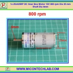 1x ZGA25RP DC Gear Box Motor 12V 800 rpm Dia 25 mm Shaft Dia 4mm