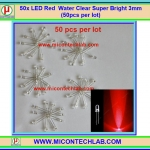 50x LED Red Water Clear Super Bright 3mm (50pcs per lot)