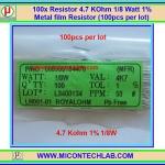 100x Resistor 4.7 Kohm 1/8 Watt 1% Metal film Resistor (100pcs per lot)