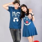 เสื้อคู่ เสื้อคู่รัก ชุดคู่รัก เสื้อคู่รักเกาหลี เสื้อคู่แฟชั่น ลาย MR. & MRS.ทรงตรง ADX005