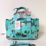 กระเป๋าถือ+สะพาย ทรงกระโปรง Chalita wu สีเขียวอมฟ้า ลายกรุงเทพ
