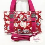 กระเป๋า Chalita wu + สายสะพาย 3 ซิป สีเลือดหมู ลายลูกโลก
